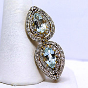Extraordinary 5 tcw Diamond and Aquamarine Brooch Pin