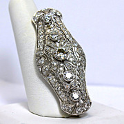 Superb Art Deco Platinum 4.7tcw Diamond Brooch Pin