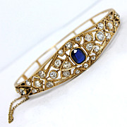 Magnificent Edwardian 14K Rose Gold and 3.01 CT TCW Diamond and Sapphire Bracelet
