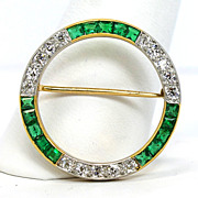 1930's Two Tone Diamond and Emerald Open Circle Brooch