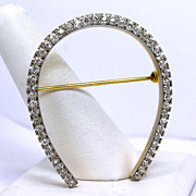 Platinum Oversized Horseshoe Diamond Brooch