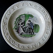 Antique ABC Plate ~ Children Teaching Their Dog Polite To Be
