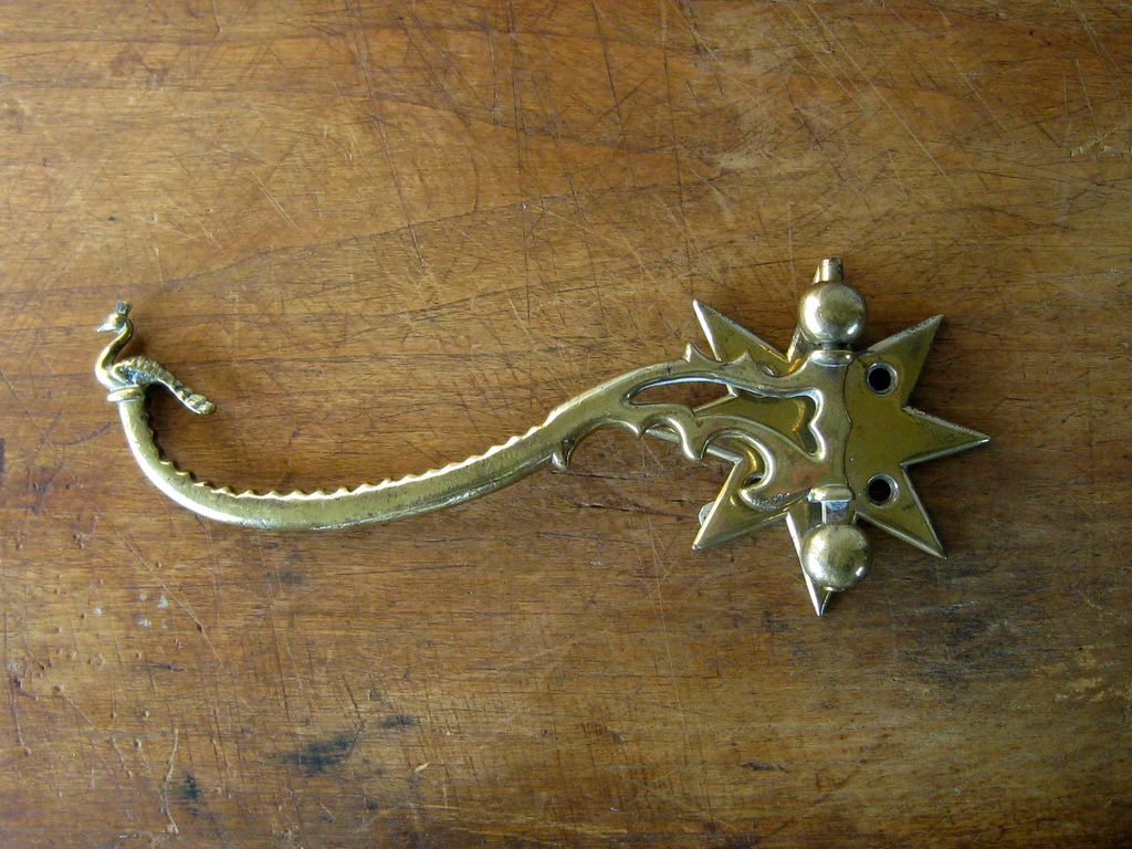 Antique English Brass Roasting Jack Arm or Spit Bracket c1820