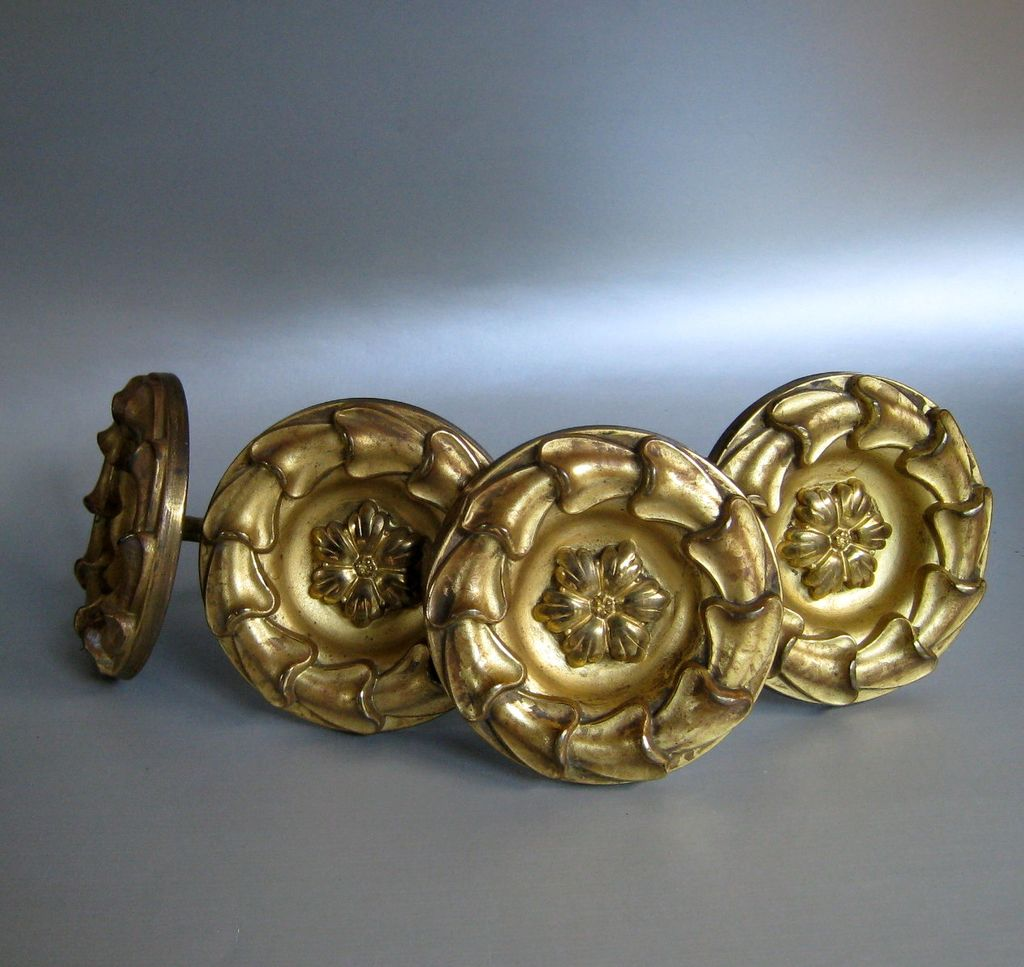 Two Pair Antique Gilt Brass Curtain Tiebacks ~ 19th Century