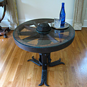 Vintage Wagon Wheel & Iron Side Table