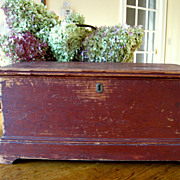 Antique Miniature Blanket Box ~ Dovetailed ~ Old Red Paint