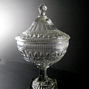 "Large 16"" Antique Anglo Irish Cut Glass Covered Compote Bowl Lemon Squeezer Foot"