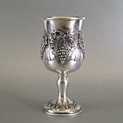 Sterling Silver Kiddush Cup Judaica ~ Grape Motif Goblet ~ Hazorfim