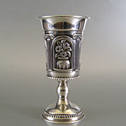 Sterling Silver Kiddush Cup Judaica ~ Floral Urn Motif Goblet