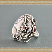 Ring &quot;Marie de Medici&quot; Sterling Silver 18K. Gold Natural Sapphire