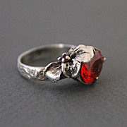 Ring Sterling Silver Padparadscha Sapphire Garnet