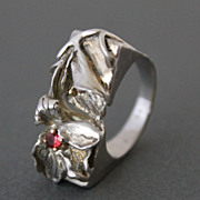 SALE Ring Sterling Silver 14 K. Gold Natural  Padparadscha Sapphire