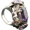 Ring Sterling Silver Three Amethyst