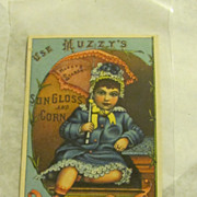 Muzzy's Sun Gloss and corn Starch Victorian trade card
