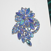 Super Blue aqua Rhinestone flower pin brooch vintage
