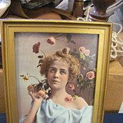 Ullman mfg co. 1899 Victorian print woman with roses