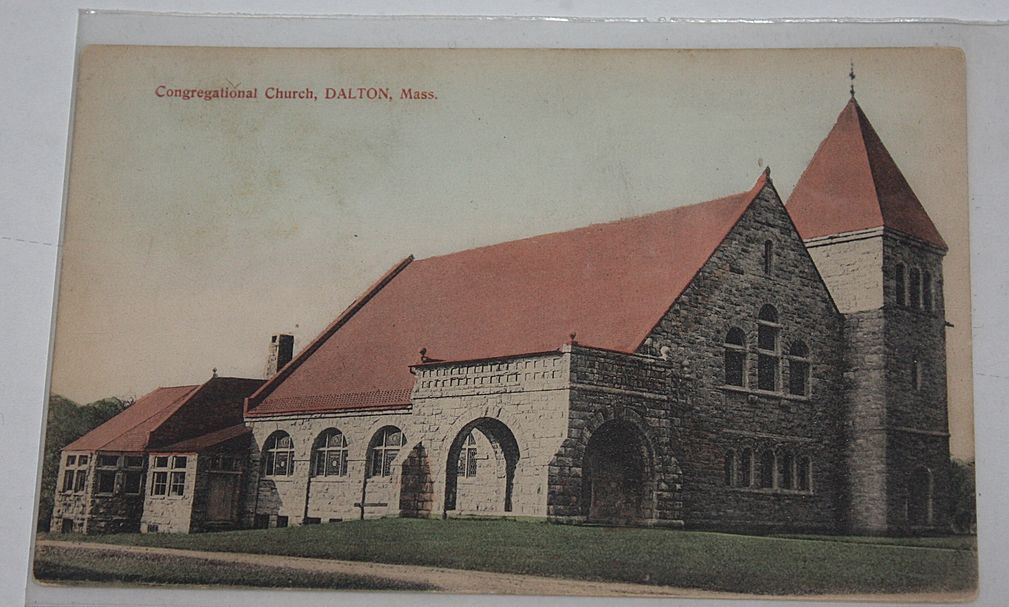 Early Congregational church Dalton MA Massachusetts postcard