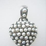 SOLD ...Antique Georgian Natural Pearl Sterling Silver Puffy Heart Charm Pendant
