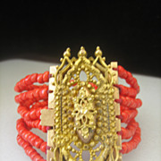 SOLD CLEARANCE....Antique Georgian Pinchbeck and Red Coral Bracelet MINT