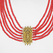 SOLD CLEARANCE...Antique Georgian Pinchbeck and Six (6) Strand Coral Necklace
