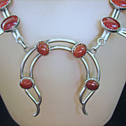 ...Vintage Sterling Silver American Indian Squash Blossom Necklace with Carnelian Stones
