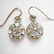 ...HUGE Antique English Georgian 9 kt Gold (5) Carat Rock Crystal Earrings