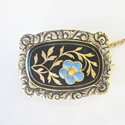 Antique Georgian Enamel Solid 14 kt Gold Forget Me Not Flower Pin