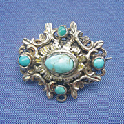 SOLD Antique Georgian Sterling Silver and PersianTurquoise Pin Pendant