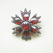 Antique Georgian Bohemian Garnet Starburst Pin