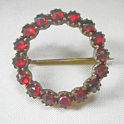 Antique Late Georgian Early Victorian Bohemian Rose Cut Garnet Circle Pin
