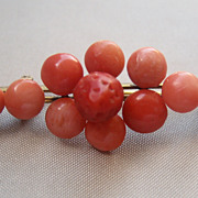 Antique Georgian Coral Gold Filled Pin Brooch