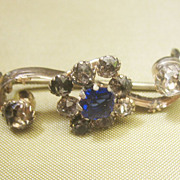 Antique Georgian Rock Crystal and Paste Sterling Silver Pin Brooch