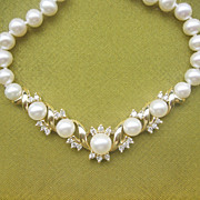 Vintage .65 Ct Diamond,14kt Gold Japanese Cultured Pearl Necklace
