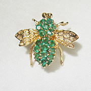 Vintage 14kt Gold Columbian Emerald Bee Insect Pin Necklace