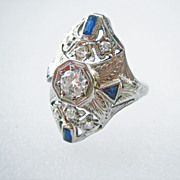 SALE MOTHER'S DAY..Vintage Art Deco Sapphire and .45 ct, Diamond 14kt White Gold Ring