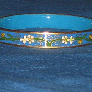 SOLD Cloisonne Bracelet Beautiful Blue with Gold Color Borders
