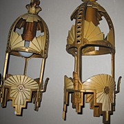 REDUCED Very Hard to Find Beardslee Chicago Pendant Light Set 1930's