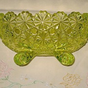 Uranium Glass Daisy and Button Pattern by Anchor Hocking