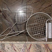 REDUCED Tinned Wireware Collection Basket/Kitchen Strainer, Whip and Nutmeg Grater