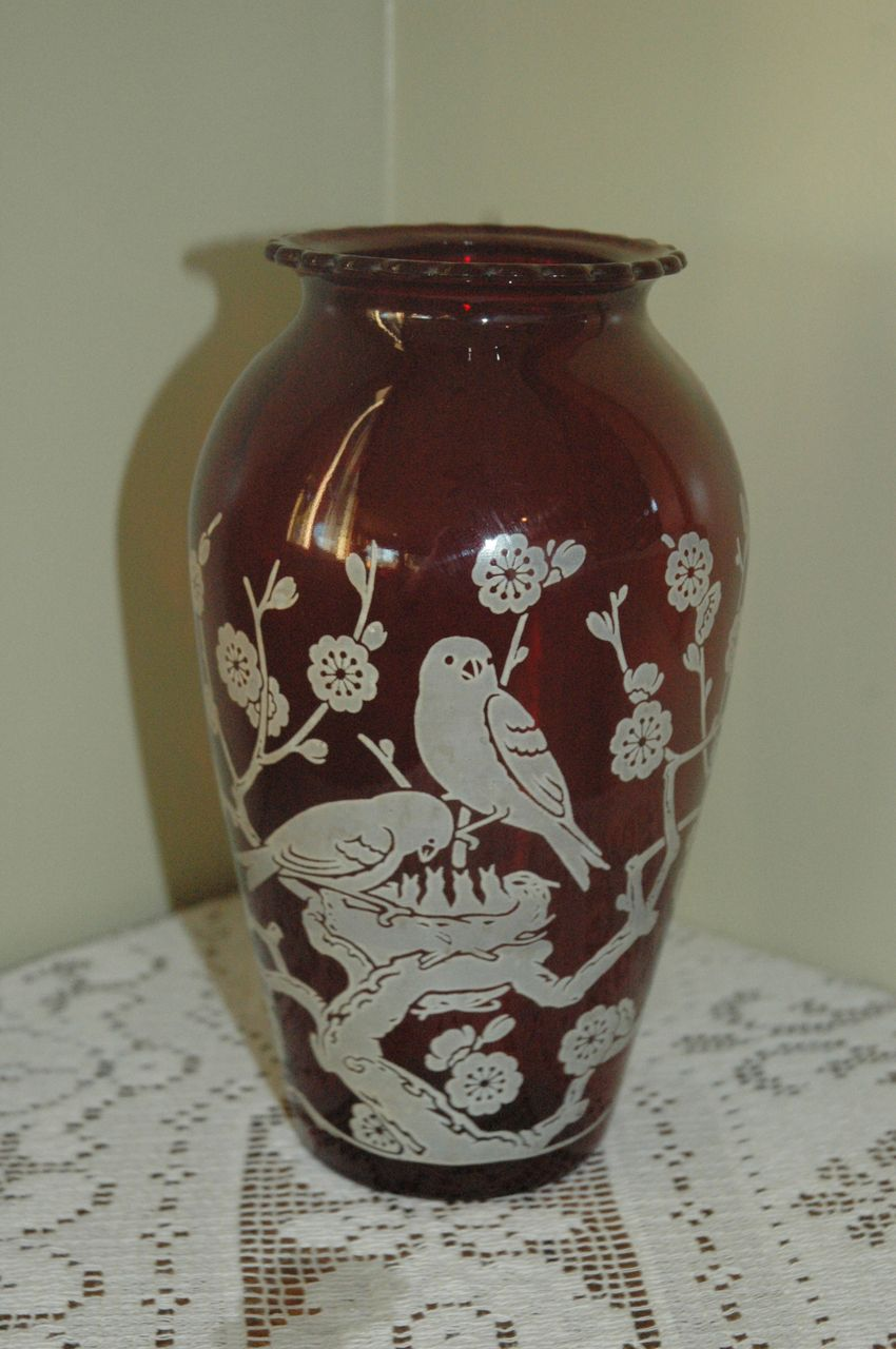 Ruby Red Glass Vase by Anchor Hocking