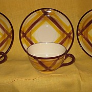 Vernonware Tea Cups Organdie Pattern Set of Three with Saucers