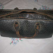 Black Alligator Leather Turn of the Century Doctors/Nurse' Bag