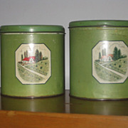 Metal Nesting Canisters from the 30's Set of Five
