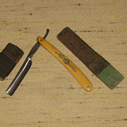 Simmons Hardware Company Straight Razor with Western Motif and Celluloid Handle