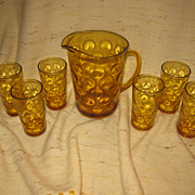 Hazel Atlas El Dorado Amber Glass Pitcher with Six Glasses