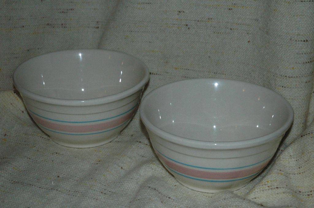 McCoy Vintage Pottery Blue and Pink Banded Bowls