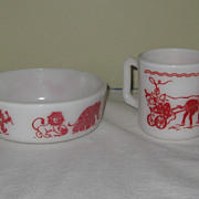 Hazel Atlas Circus Design Children's Dishes