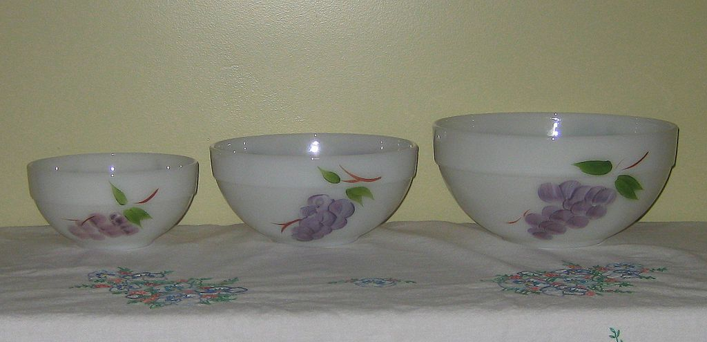 Gay Fad Fruits Fire King Mixing Bowl Set of Three