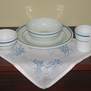 Pyrex Blue Banded Milk Glass Restaurant Ware 4 Piece