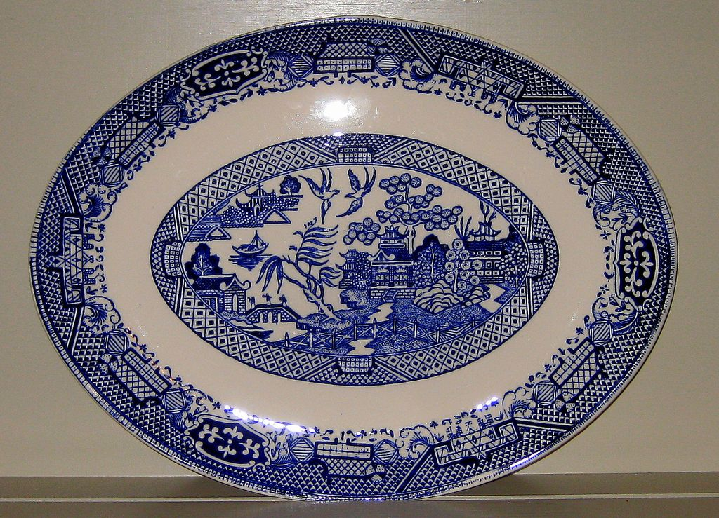 Willow Pattern Transfer Ware Platter